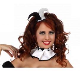 Mini sombrero o Tocado de Arlequín Blanco y Negro