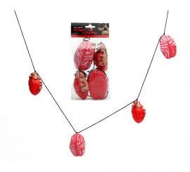 Guirnalda de 2 Corazones y 2 Cerebros de 22x12 cm