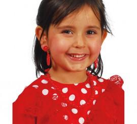 Pendientes Andaluza rojos infantil