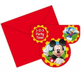 Bolsa de 6 invitaciones Mickey Club House