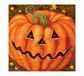 Bolsa de 20 Servilletas de Calabaza para Halloween