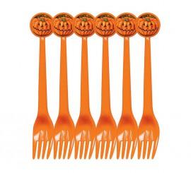 Set de 6 Tenedores Calabaza de plástico para Halloween