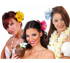Sac avec 2 Fleurs Hawaïennes pour Cheveux