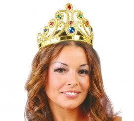 Corona o diadema ajustable de Reina color Oro
