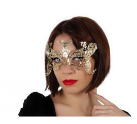 Antifaz en forma de Mariposa dorado de metal