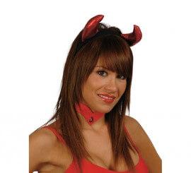 Diadema cuernos Diablesa de tela para Halloween
