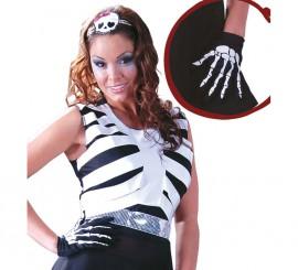 Par de guantes Esqueleto para Halloween