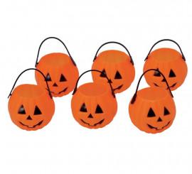 Bolsa de 6 Calabazas de 7 cm para Halloween