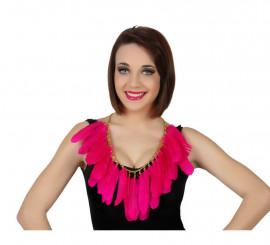 Collar con plumas de color rosa