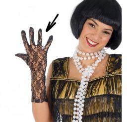 Par de guantes calados negros 36 cm.