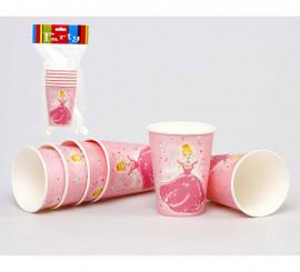 Set de 6 Vasos de Princesa de cartón de 6 cm