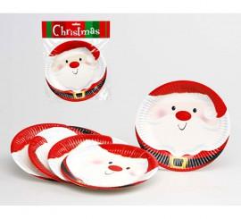 Bolsa de 6 Platos de Papa Noel de 18 cm de diámetro