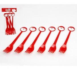 Blister de 6 Tenedores de Papa Noel de plástico 17 cm