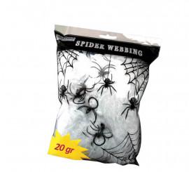 Telaraña 20 gr. con 2 arañas para decoración de Halloween de