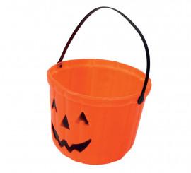 Cubo Calabaza de plástico de 15 cm para Halloween