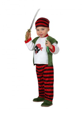 Disfraz para bebés de Pirata rayas