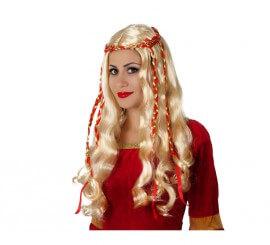 Peluca de Dama Medieval rubia con lazo rojo
