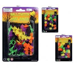 Blister de Anillos con formas para Halloween 3 surtidos