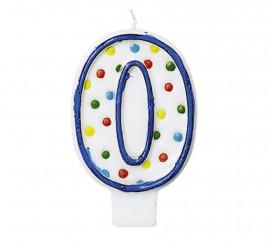 Vela Puntitos de colores con el número 0 para cumpleaños