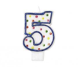 Vela Puntitos de colores con el número 5 para cumpleaños
