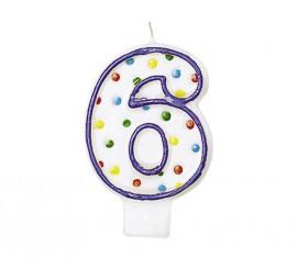 Vela Puntitos de colores con el número 6 para cumpleaños