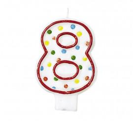Vela Puntitos de colores con el número 8 para cumpleaños