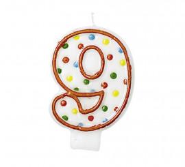 Vela Puntitos de colores con el número 9 para cumpleaños