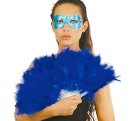 Abanico azul de plumas 21 palas