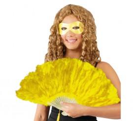 Abanico amarillo de plumas 21 palas