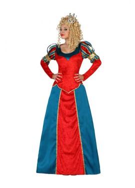 Disfraz para mujeres de Reina Medieval rojo y azul