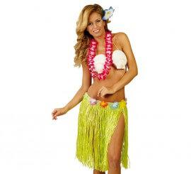 Falda Hawaiana con flores de 45 cm colores surtidos