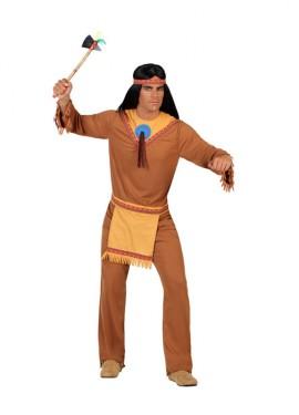 Disfraz para hombres de Indio con broche azul