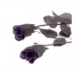 Rosa negra con purpurina morada para Halloween