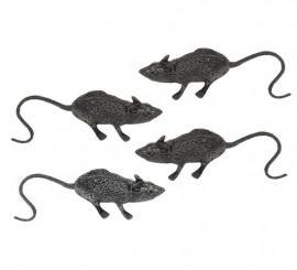 Bolsa con 4 ratas 6 cm. para decoración Halloween