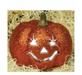 Calabaza escarchada con luz de 12 cm para Halloween