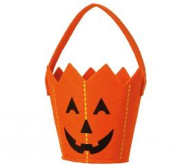 Cubo Calabaza de fieltro de 20 cm para Halloween