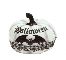 Calabaza blanca con Murciélago de 12x15 cm de Halloween