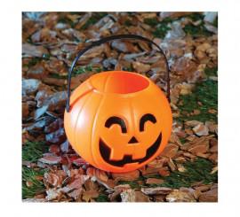 Cesta Calabaza 11 cm de plástico para Halloween