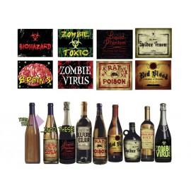 Blister de 8 Etiquetas de Botella para Halloween