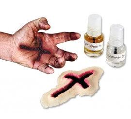 Cicatriz látex Cruz c/ pegamento y quita-pegamento