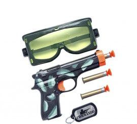 Kit Militar: Pistola, Balas, Gafas de Protección y Placa
