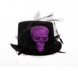 Sombrero negro con cráneo y plumas para Halloween