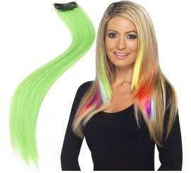2 Mechas o Extensiones de Pelo Verde Neón o Fluorescente