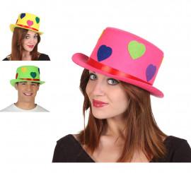Sombrero Chistera con Corazones en Tres colores surtidos
