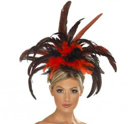 Diadema Burlesque de plumas negras y rojas
