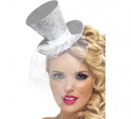 Mini Sombrero de Copa Burlesque Plata con Velo para Mujer