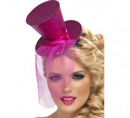 Mini Sombrero de Copa Burlesque Rosa con Velo para Mujer