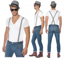 Sombrero y Tirantes Ska Cuadros Blancos y Negros