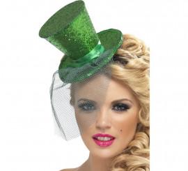 Mini Sombrero de Copa Burlesque Verde con Velo para Mujer