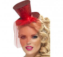 Mini Sombrero de Copa Burlesque Rojo con Velo para Mujer